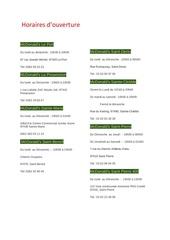 Fichier PDF horaires et coordonnees