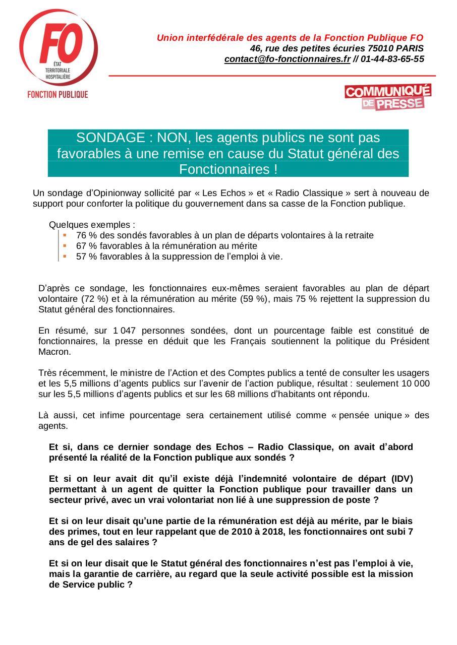 Fo Fonction Publique Suite Au Sondage Opinonway Par Martine