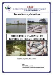production alevins et de gestion de ferme piscicole