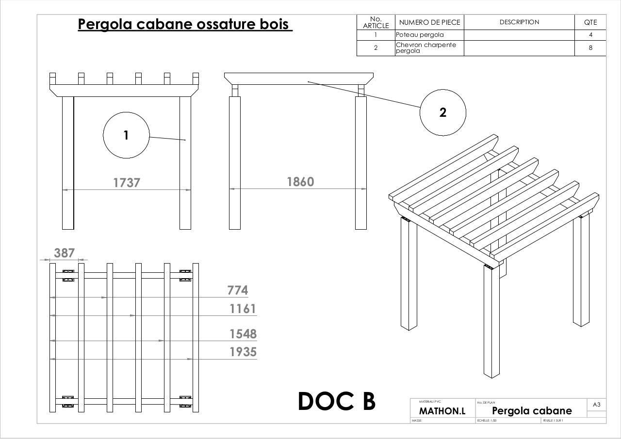 Pergola Cabane Ossature Bois Doc B Par Pcmathlud Mathlud Pcmathlud Fichier Pdf