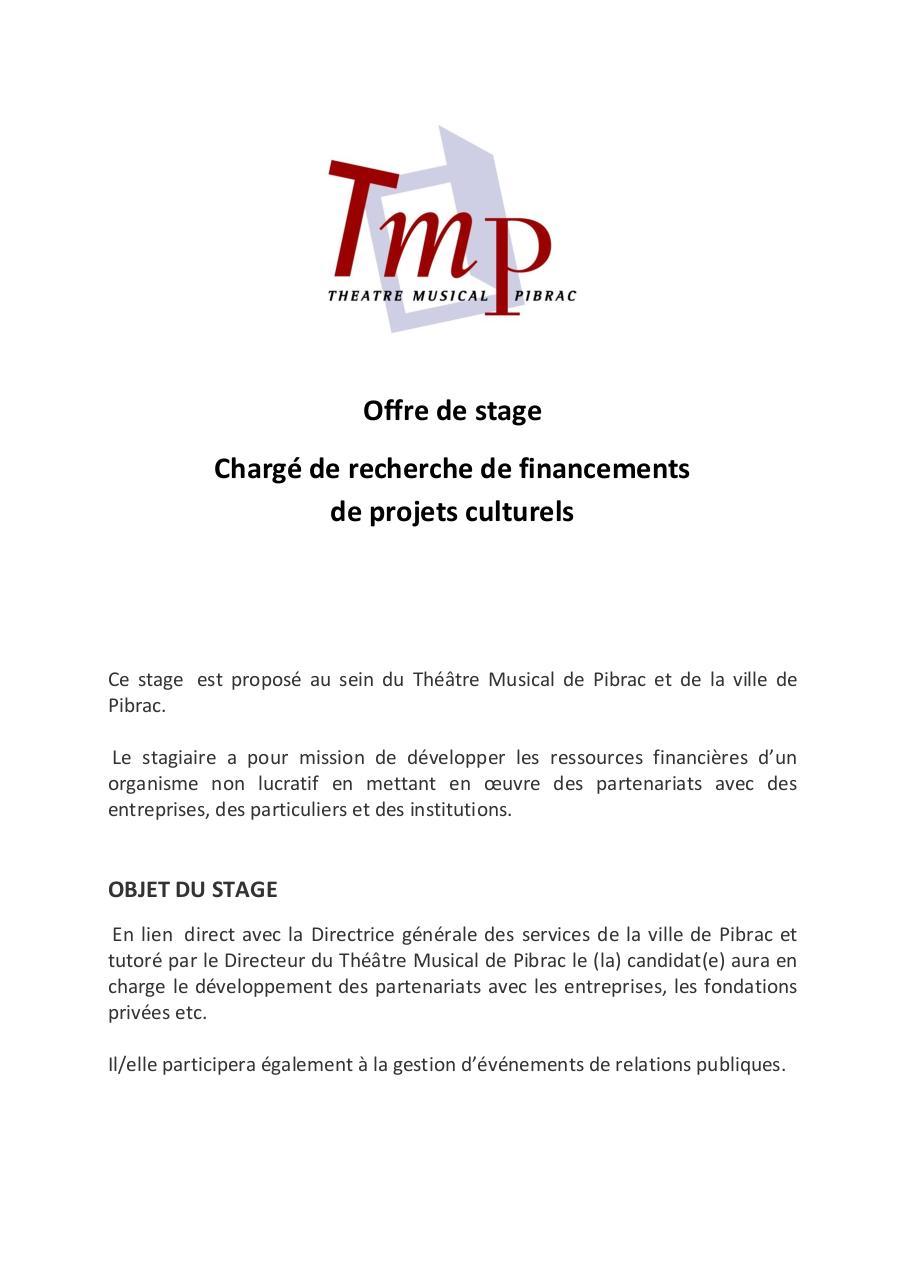 f07a75c1eb8 Stage de chargé de recherches de financements culturels TMP.pdf - page 1 5