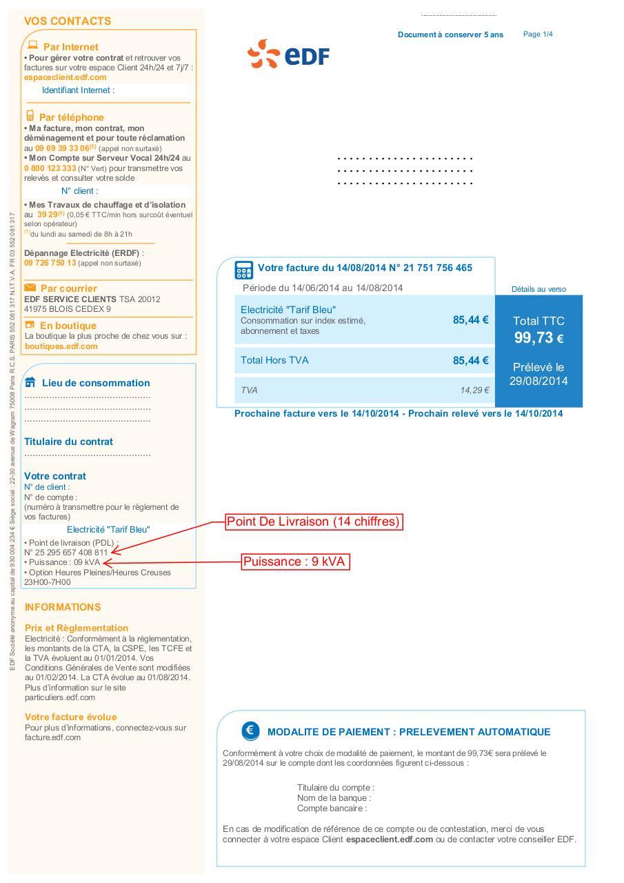 Exemple de facture EDF par Virginie - Fichier PDF