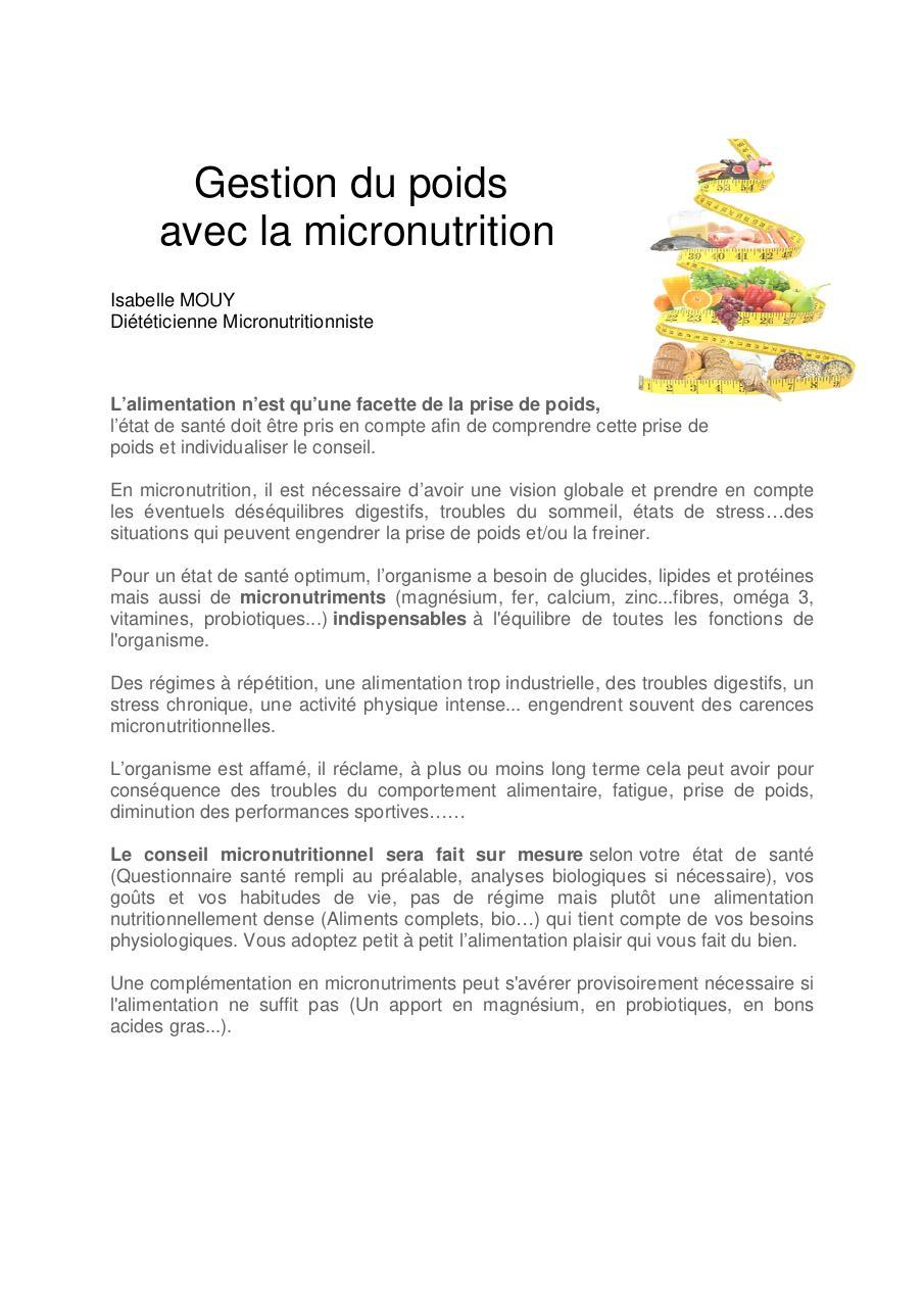 Gestion du poids avec la micronutrition par GEORGES
