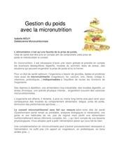 gestion du poids avec la micronutrition