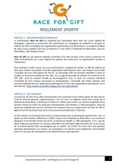 reglement sportif race for gift 2018