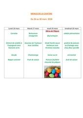 menus de la cantine 26 mars