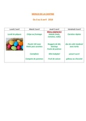 menus de la cantine 3 avril