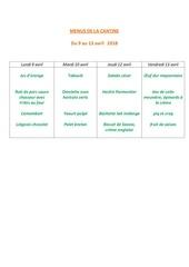 menus de la cantine 9 avril