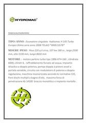 scheda tecnica hydromac 145t europa