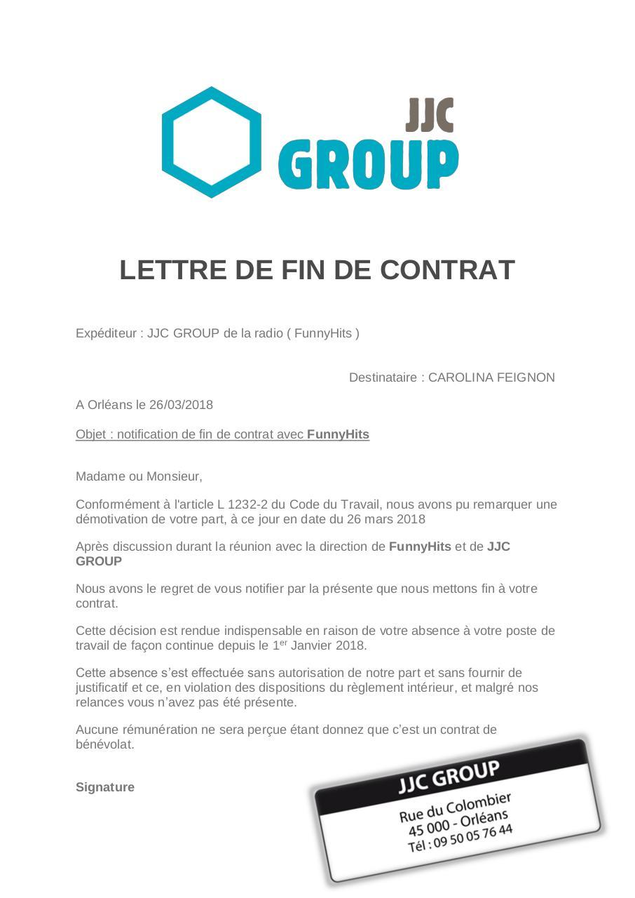 Lettre De Fin De Contrat Carolina Feignon Par Jjc Group