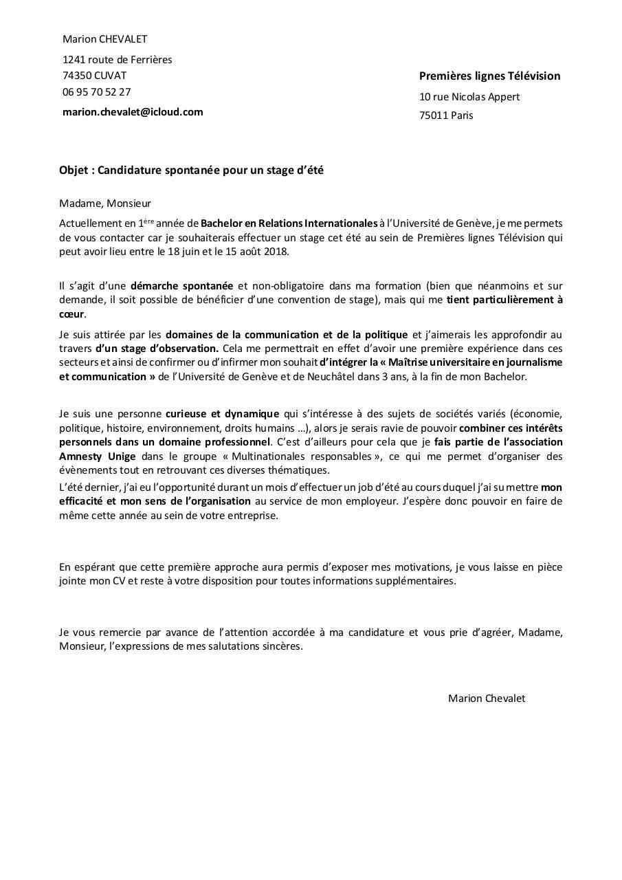Lettre De Motivation Premieres Lignes Television Fichier Pdf