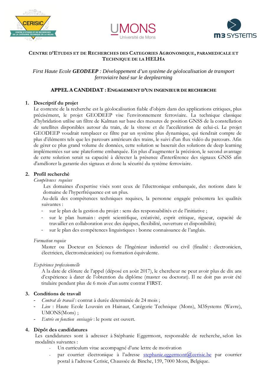 Cerisic Offreemploi Mons Geodeep Par Stéphanie Fichier Pdf