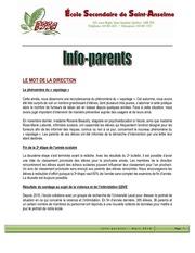info parents mars 2018