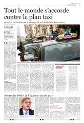 tout le monde contre le plan taxi bruxellois