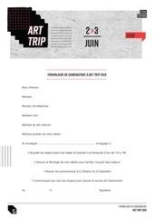 formulaire inscription art trip 2018