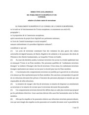 directive relative a la lutte contre le terrorisme