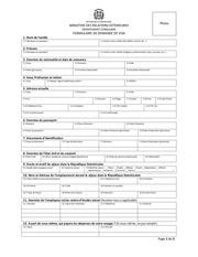 formulaire de demande visa en francais