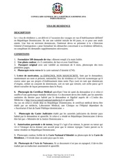 Fichier PDF visa de residence