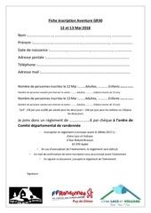 bulletin inscription aventure gr30
