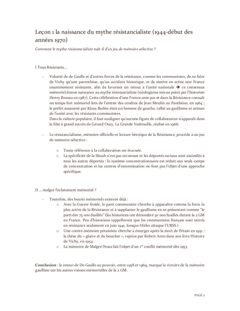 Histoire T1 Le Rapport Des Sociétés à Leur Passé Par Lhistorien