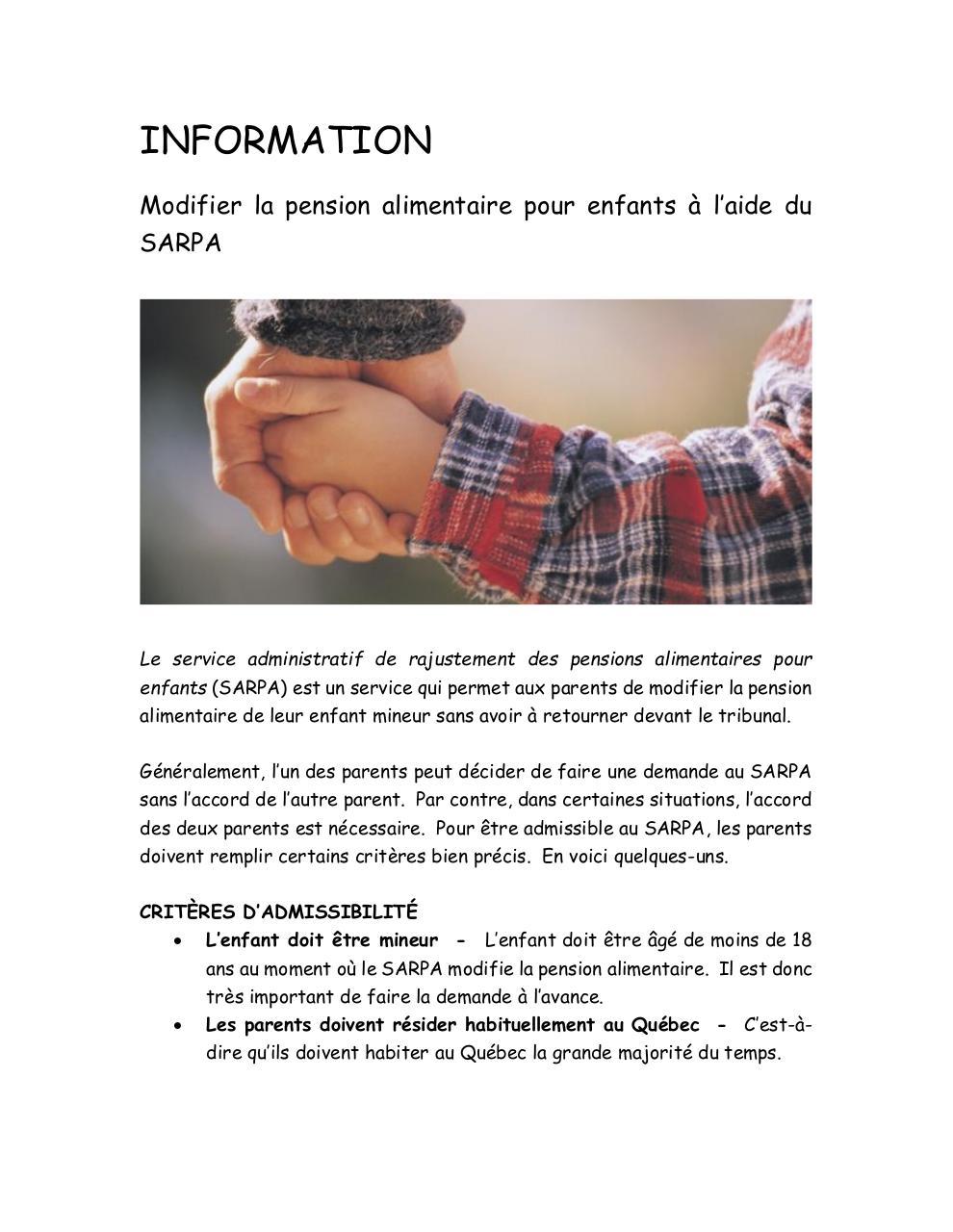 Information Pension Alimentaire Pour Enfants Par Vanessa Massie
