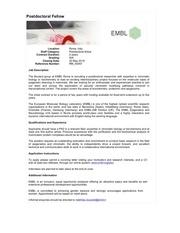 post doc embl rome rm 00067