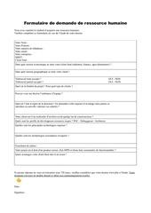 Fichier PDF formulaire de demande de ressource humaine