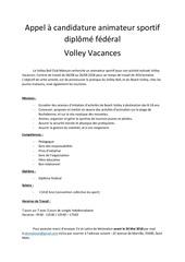 appel a candidature volley vacances 2e me pe riode