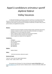 Fichier PDF appel a candidature volley vacances