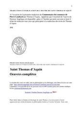 traduction et publication de l oeuvre de thoams d aquin