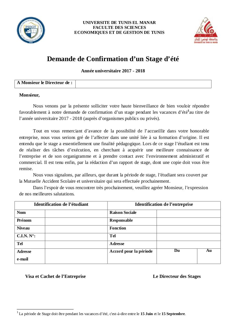 lettre de confirmation de stage