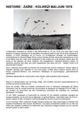 histoire za re kolwezi mai juin 1978