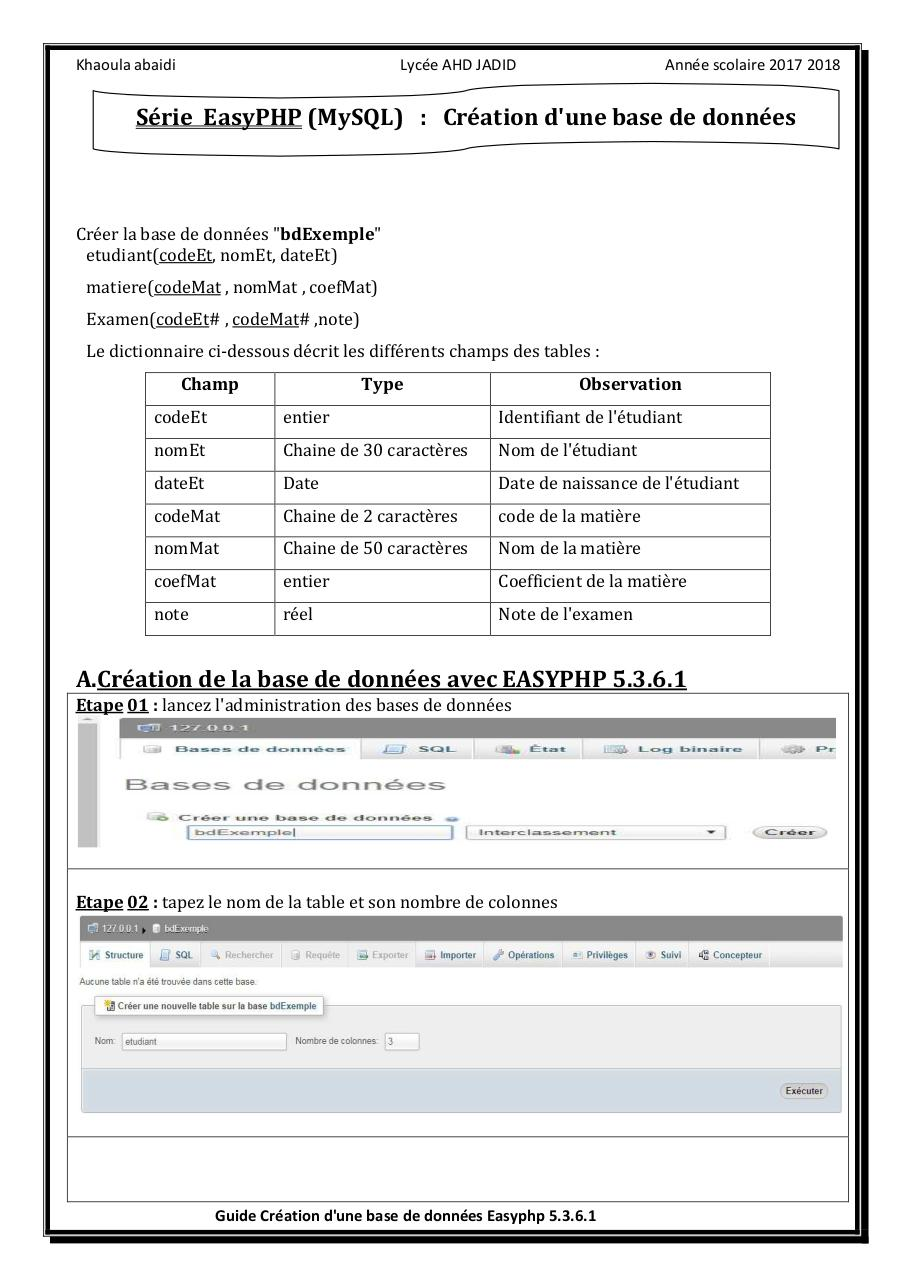 Aperçu du document creationBD-easyphp5.3.6.1.pdf - page 1/5