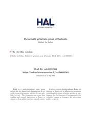 relativite generale pour debutants michel le bellac