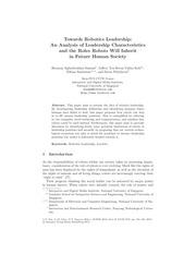 towards robotics leadership an analysis