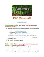 pc minecraft contrat