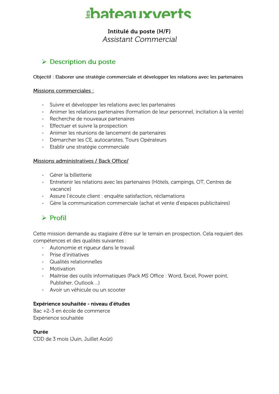 Offre de poste- Assistant commercial(e) par D.S.T.I ...