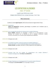 programme   entretiens alzheimer   paris 2018