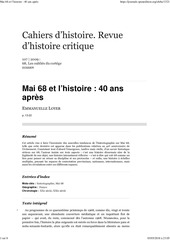 mai 68 et lhistoire 40 ans apres