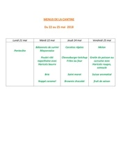 menus de la cantine 22 mai