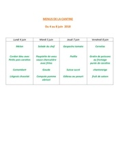 menus de la cantine 4 juin