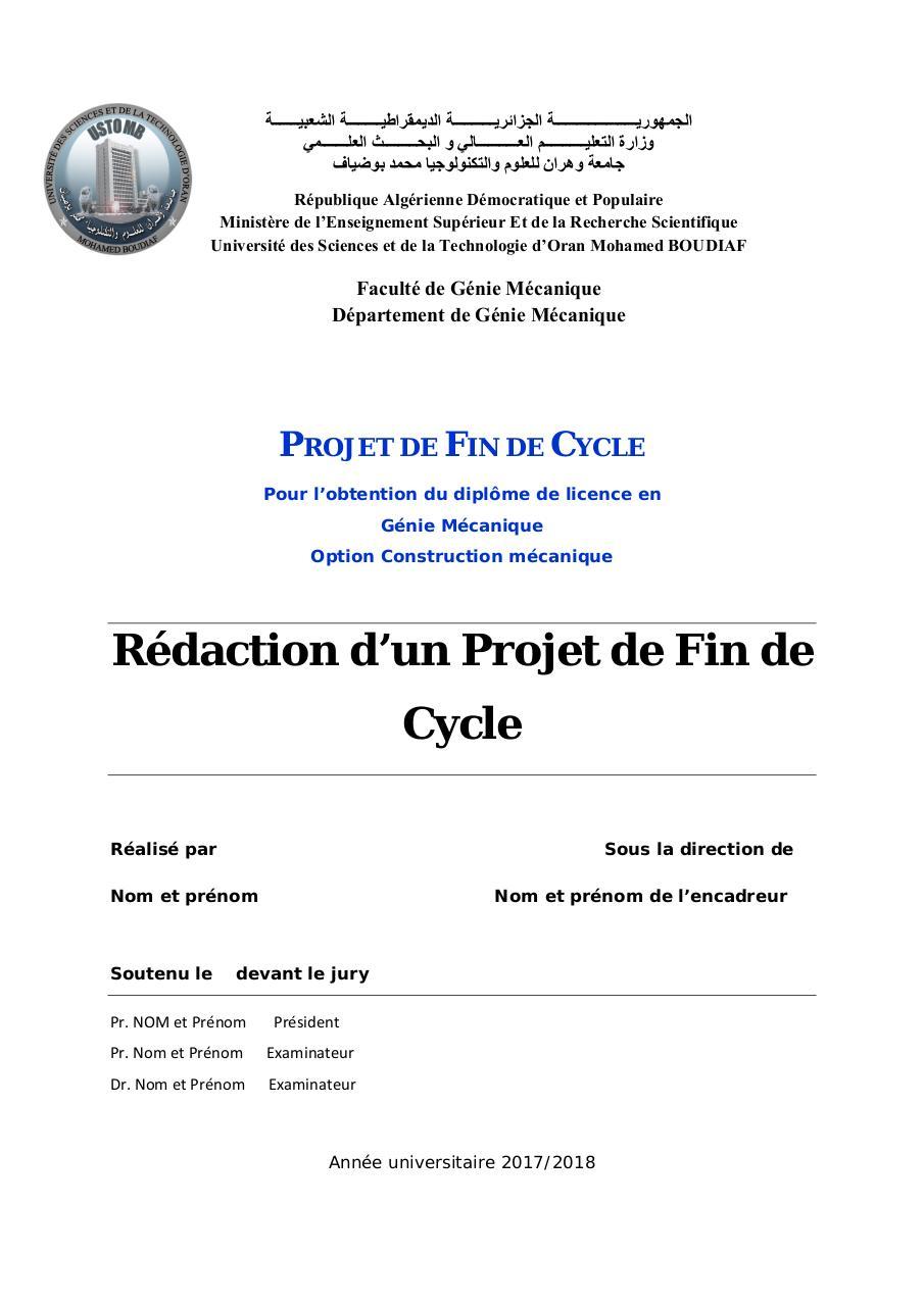 Modele Memoire Fin De Cycle Master Par Auto Fichier Pdf