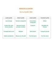 menus de la cantine 2 juillet