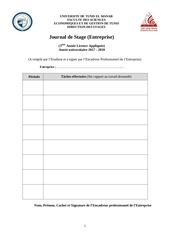 Fichier PDF journal de stage entreprise