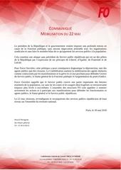 communique fo dept sg   mobilisation du 22 mai   18052018
