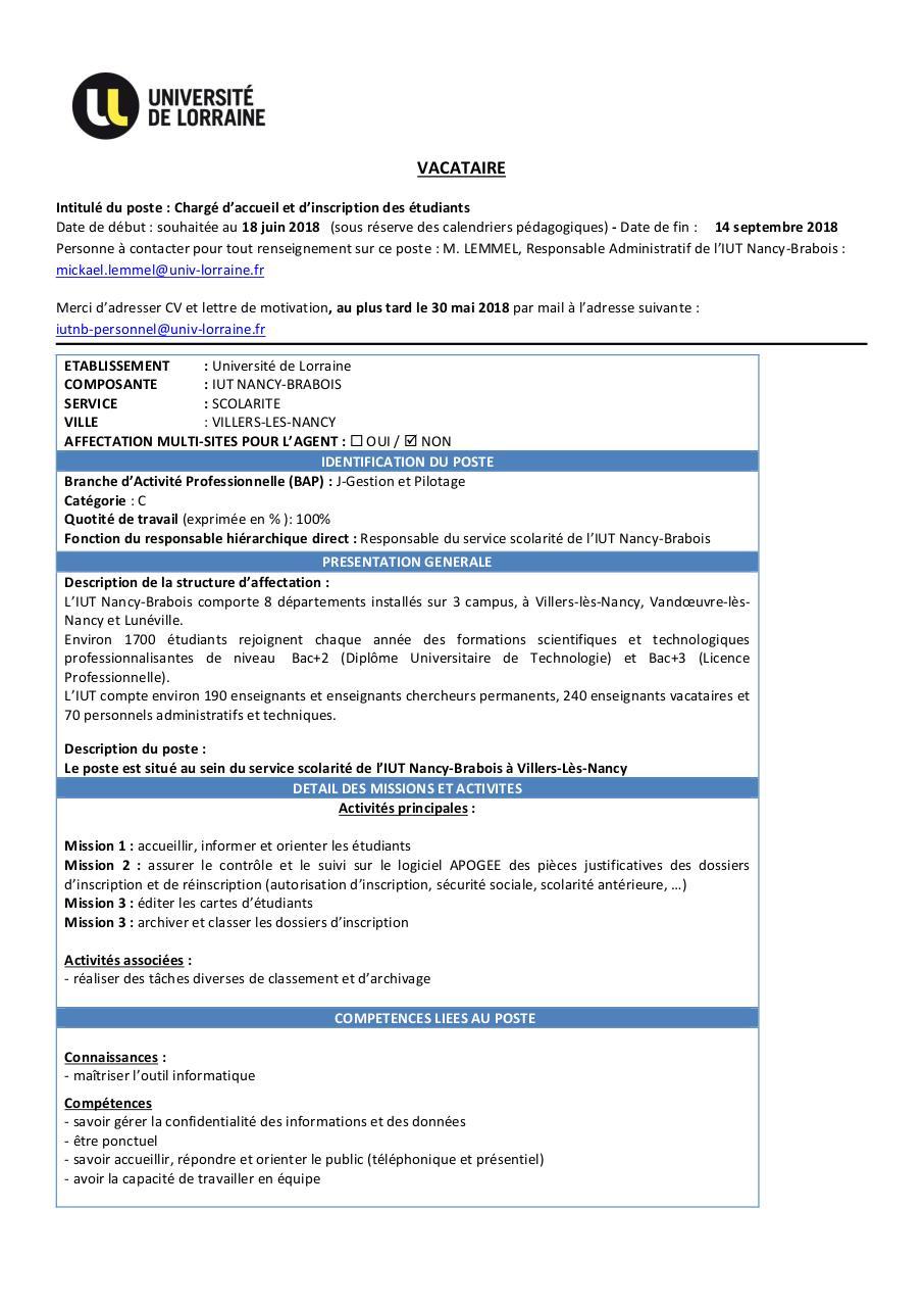 lettre de motivation vacataire administratif universit u00e9