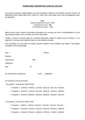 Fichier PDF dossier inscription