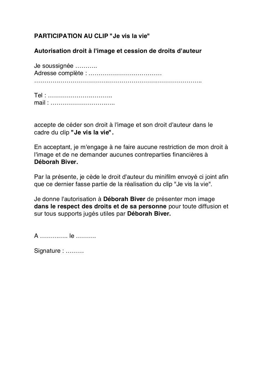 La Vie Est A Nous Autorisation De Droit A L Image Majeur Par Perso Fichier Pdf