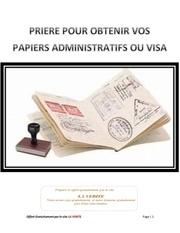 priere pour obtenir vos papiers administratifs ou visa