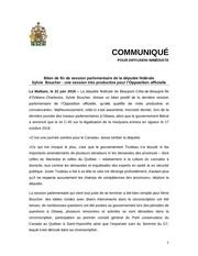 communique   bilan de la session parlementaire